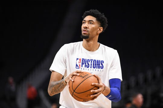 Detroit Pistons forward Christian Wood warms up before a January game.