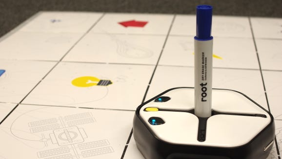 With Root Robotics, you can use code to produce complex designs on the white board playmat.