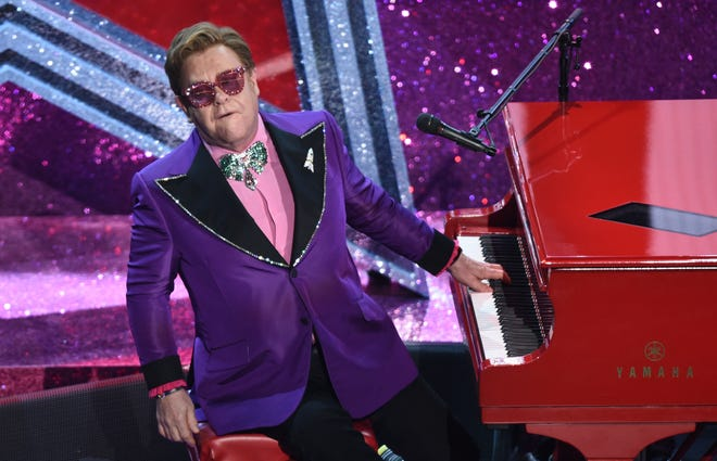 Elton John performs at the Academy Awards in Los Angeles in February 2020.