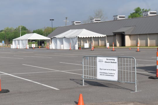 COVID-19 testing site located in the parking lot of the Rapides Parish Coliseum.
