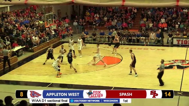 Stevens Point faced Appleton West in a WIAA Division 1 boys basketball sectional final on March 12, 2016, in Marshfield. The Panthers topped the Terrors 86-49.