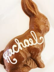 Personalized solid chocolate Easter bunnies are available from 2 Chicks With Chocolate, based in Metuchen and Middletown.