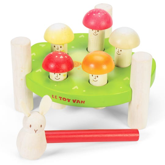Children can hammer the smiley mushrooms with a wooden bunny, in this set by Le Toy Van.