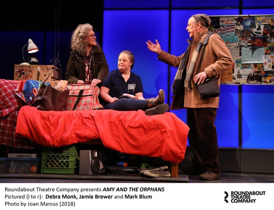 """Debra Monk, Jamie Brewer and Mark Blum in Roundabout Theatre Company's """"Amy and the Orphans."""""""