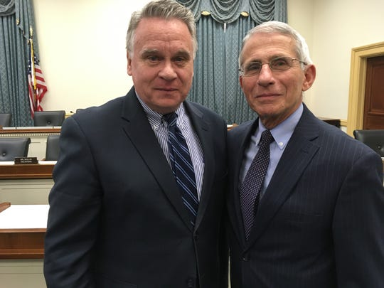 Rep. Chris Smith (left) pictured earlier this year with Dr. Anthony Fauci, head of the National Institute of Allergy and Infectious Diseases. Smith has joined the Fusco family in pressing for doctors to have more leeway in treating coronavirus patients.