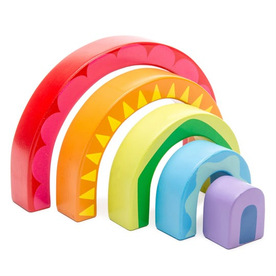 This beautiful wooden toy -- a rainbow tunnel -- is by Le Toy Van.