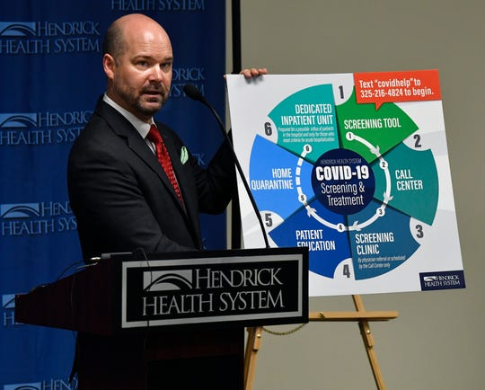 Hendrick Health System CEO Brad Holland holds the hospital's COVID-19 Screening and Treatment chart during Thursday's press conference. Holland announced the first positive coronavirus test result for Taylor County belonging to a man in his forties.