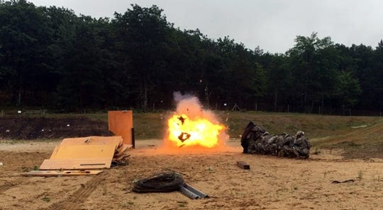 Members of the 1433 Engineering Co. at Fort Custer conduct explosive training in 2016. The unit is holding similar training Thursday and Friday at the base.