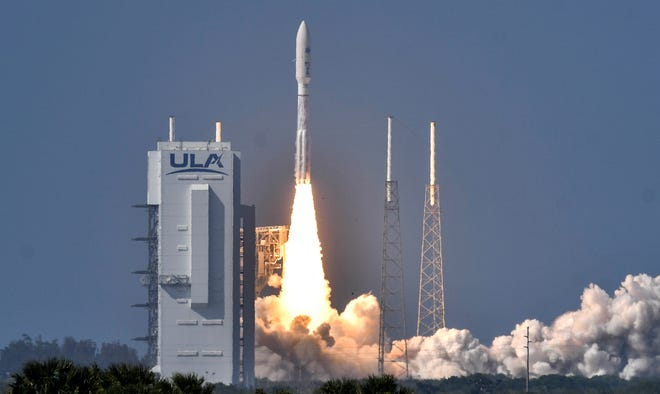 United Launch Alliance launched its Atlas V rocket with the Air Force's sixth and final Advanced Extremely High Frequency, or AEHF-6, satellite March 26, 2020, from Cape Canaveral Air Force Station Launch Complex 41. The satellite aims to provide highly-secure, jam-proof communications, which includes real-time video between U.S. national leadership and deployed military forces. Mandatory Credit: Craig Bailey/FLORIDA TODAY via USA TODAY NETWORK