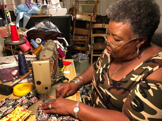 Pastor Mamie Johnson of Titusville is a retired seamstress who is making homemade face masks for Hummingbird food pantry in Titusville. Hummingbird gives out food on Fridays and needs the masks to keep their workers as safe as can be.