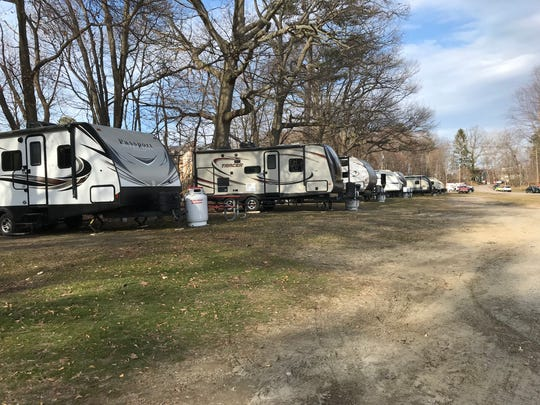Campers are set up at North Beach Campground for people experiencing homelessness. Individuals previously living in the city's low-barrier shelter now have the opportunity to stay at this site, in order to minimize the likelihood of getting COVID-19. March 26, 2020.