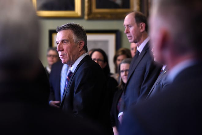 In an effort to mitigate the effects of the coronavirus, Vermont Gov. Phil Scott announces a state of emergency for Vermont during a press conference Friday, March 13, 2020 in Montpelier, Vt. The vast majority of people recover from the new coronavirus. According to the World  Health Organization, most people recover in about two to six weeks, depending on the severity of the illness.