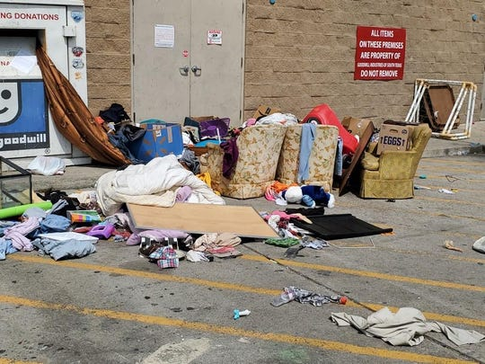 Goodwill stores and donation stations have been closed since March 23, but that hasn't stopped donors from dropping off items in the empty parking lots to be rummaged through.
