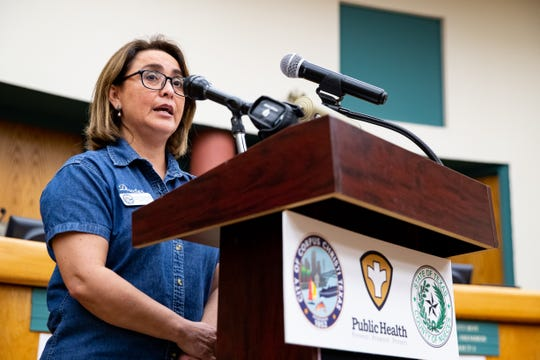 Annette Rodriguez, Director of Public Health for the Corpus Christi-Nueces County Public Health District speaks during the daily Public Health District COVID-19 Update at City Hall on Thursday, March 26, 2020.
