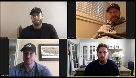 Jordan Staal, of the Carolina Hurricanes, Claude Giroux, of the Flyers, Sidney Crosby, of the Pittsburgh Penguins, and Marc Staal, of the New York Rangers, participated in a media virtual conference call via Zoom Thursday afternoon.