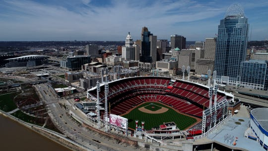 Great American Ball Park remains empty as the scheduled Opening Day game is postposed due to the ongoing COVID-19 pandemic in Downtown Cincinnati on Thursday, March 26, 2020.