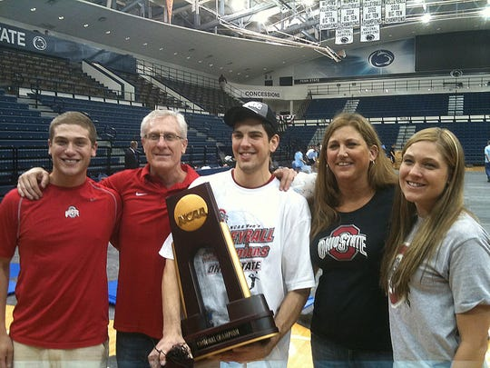 The Kehoes surround Steven after Ohio State won the NCAA championship in May at Pennsylvania State University against University of California at Santa Barbara. From left: Seth, Steve, Steven, Amy and Bryn.