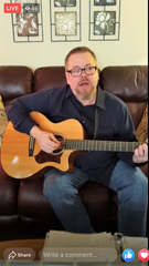 Brad Fuller playing and singing during a Facebook live streaming concert on March 22. Fuller did the concert as a way of bringing some normalcy and joy to those shut-in due to the coronavirus stay at home order.