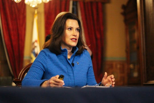 Governor Whitmer provides an update on COVID-19 in Michigan during a press conference on March 26, 2020.