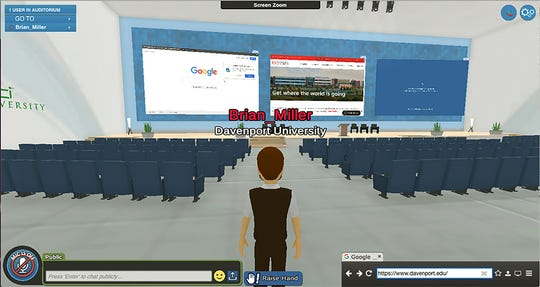 A screen capture of a virtual auditorium from Davenport University. Davenport University is using virtual reality to deliver classes and events.