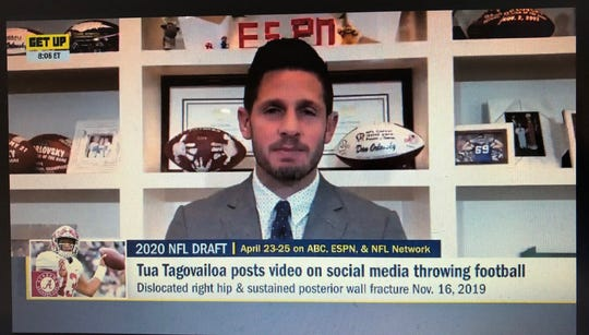"A screengrab of former Lions quarterback Dan Orlovsky, now an analyst for ESPN, on ""Get Up"" from his home office."