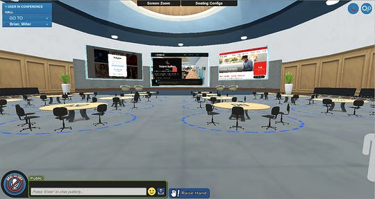 A screen capture of a virtual conference room from Davenport University. Davenport University is using virtual reality to deliver classes and events.