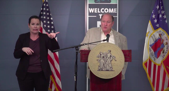 Detroit Mayor Mike Duggan speaks about the coronavirus and free food service at a city press conference Thursday in Detroit.