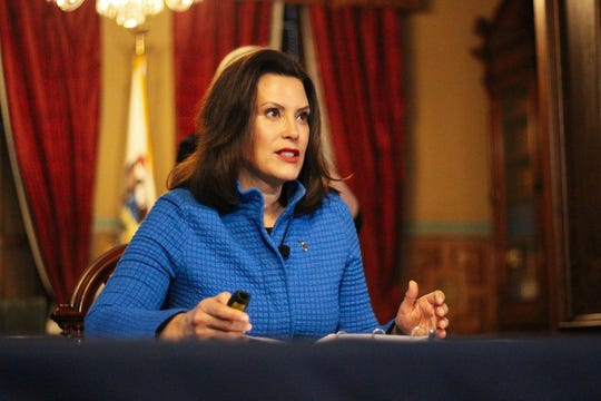 Michigan Governor Gretchen Whitmer speaks during a press conference Thursday in Lansing.