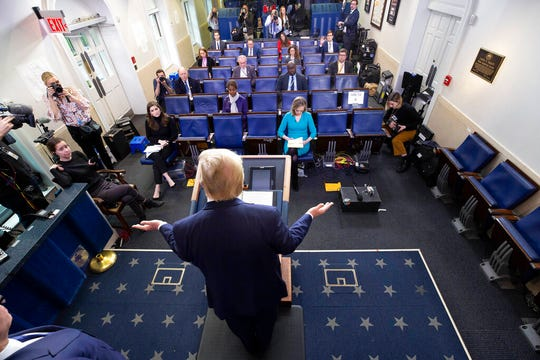 President Donald Trump speaks about the coronavirus in the James Brady Briefing Room, Wednesday, March 25, 2020, in Washington.