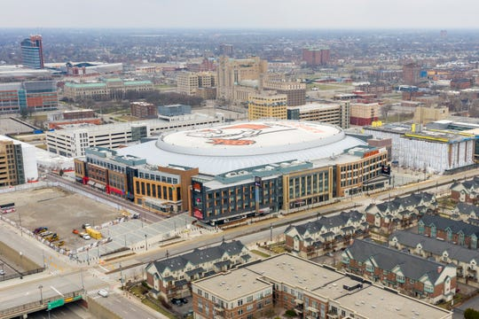 Little Caesars Arena in downtown Detroit, March 26, 2020.