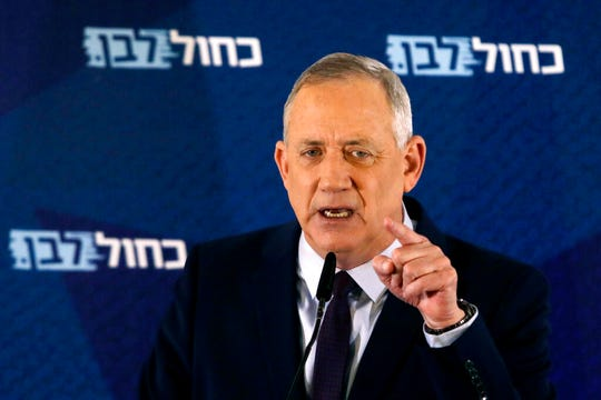 In this Saturday, March 7, 2020 file photo, Blue and White party leader Benny Gantz delivers a statement in Tel Aviv, Israel.