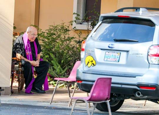 Mary Ellen Becker, 72 of Lehigh Acres, was excited for this chance to have confession with Rev. Dennis Cooney. Rev. Cooney of the St. Raphael Catholic Church has been with the church for 20 years. He felt moved to still hold confession for his congregation even if it was from their car. Parishioners could drive up and receive reconciliation from Cooney. If more than one person was in the car they could sit in a chair that was 6 feet away.