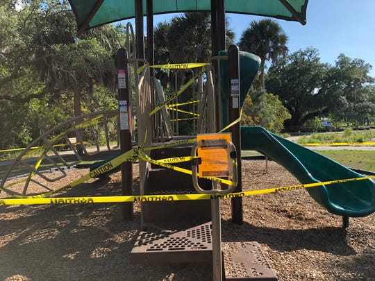 Manatee Park's playground is off-limits during the coronavirus crisis.