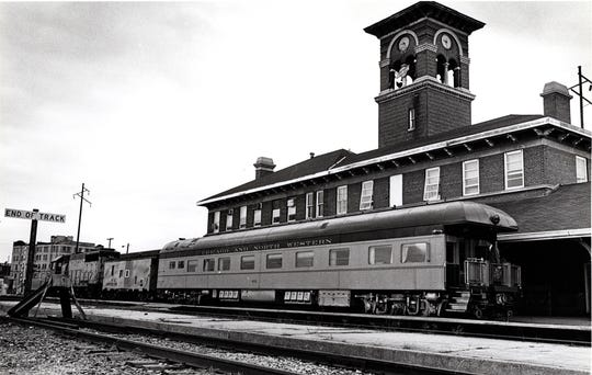 Chicago & Northwestern Railroad train at the station, now Titletown Brewing Co., in Green Bay on Nov 26, 2008.
