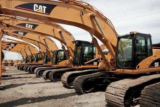 Caterpillar earth-moving equipment is displayed in 2006 in Elmhurst, Illinois.