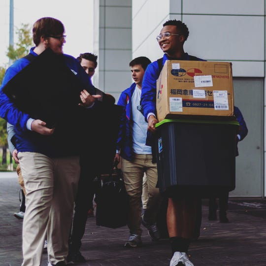 Ole Miss Esports prepares for a LAN event, or an in-person esports tournament, by hauling gear.