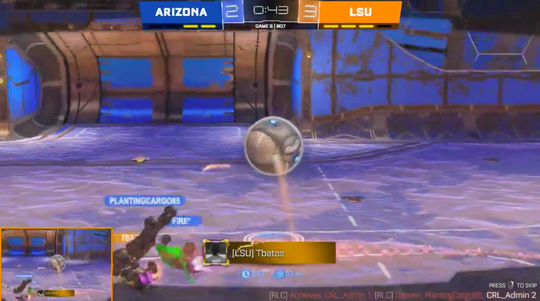 Esports LSU scores the game-winning goal in the CRL's Western Conference championship series, a collegiate Rocket League tournament, on March 18. (Screenshot via Twitch)