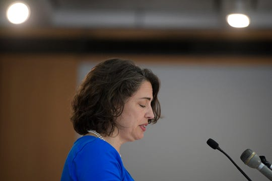 Knoxville Mayor Indya Kincannon reads a statement and answers question during a press conference giving an update on the investigation of former KPD Lt. Travis Brasfield at the City County Building in Knoxville, Tennessee on Thursday, March 26, 2020.
