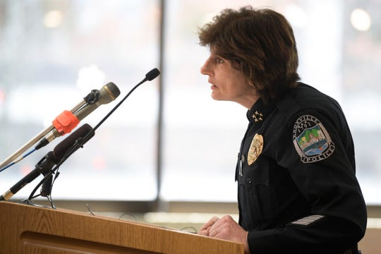 Knoxville Chief of Police Eve Thomas answers question during a press conference giving an update on the investigation of former KPD Lt. Travis Brasfield at the City County Building in Knoxville, Tennessee on Thursday, March 26, 2020.
