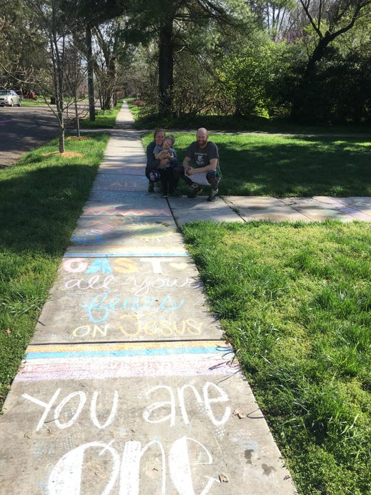 """""""Thank you to our delivery peeps"""" is one of the chalk messages on Gibbs Drive in Fountain City. March 26, 2020."""
