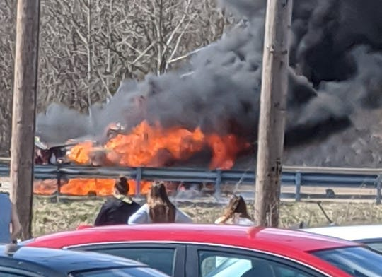 One person died Wednesday afternoon in this fiery crash on U.S. 231 just north of Veterans Memorial Parkway.