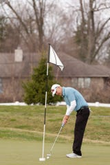 Joe Dexter putts at Purdue's Ackerman-Allen Golf Course, Thursday, March 26, 2020 in West Lafayette.