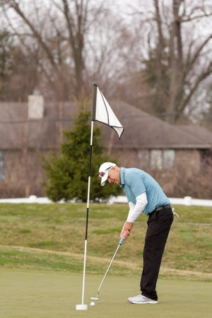 Joe Dexter putts at Purdue's Ackerman-Allen Golf Course, Thursday, March 26, 2020 in West Lafayette.