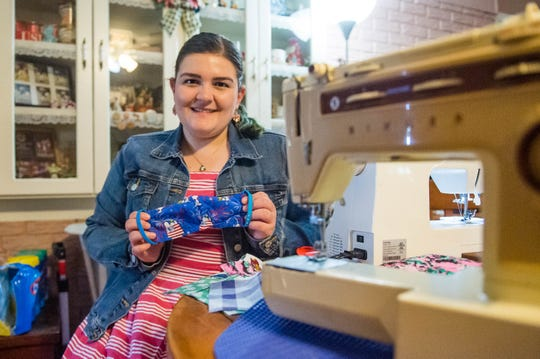 Christine Savoie sewing face mask in her home to donate to medical staff. Wednesday, March 25, 2020.
