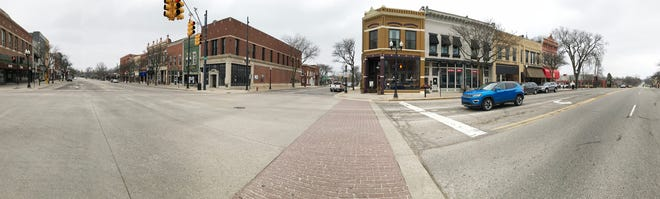 Traffic on Grand River Avenue is significantly lighter than a typical early afternoon Thursday, March 26, 2020 due to the stay-at-home order.