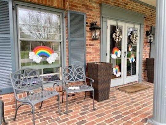 Rainbow paintings on the windows