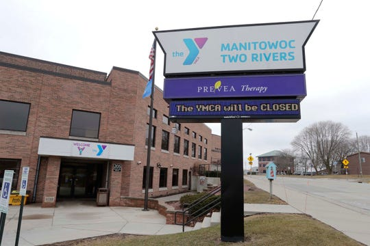 The Manitowoc-Two Rivers YMCA is closed in response to the COVID-19 crisis, Thursday, March 26, 2020, in Manitowoc, Wis.