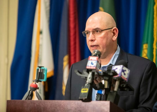 David Sweat, chief of epidemiology for the Shelby County Health Department, speaks to reporters about the COVID-19 cases at the the Shelby County Emergency Management and Homeland Security Office on Thursday, March 26, 2020.
