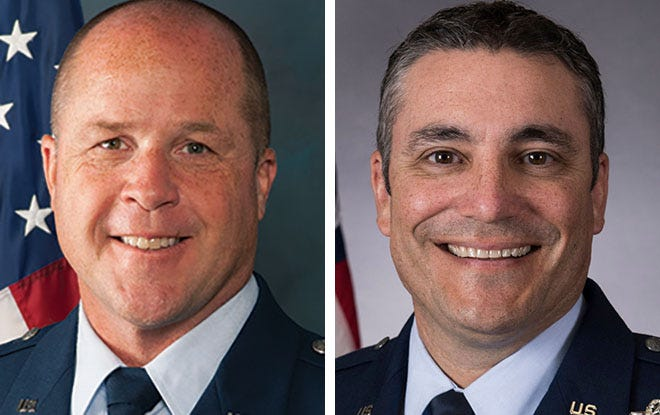 Col James W. Locke, former Winter Commander for the 128th Air Refuleing Wing, left, and Maj. Gen. Paul Knapp. adjutant general of the Wisconsin National Guard, right.