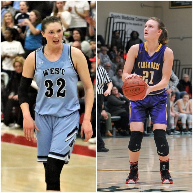 West Bend West's Maddison Baker (left) and Racine Lutheran's Caroline Strande were first-team all-state selections by the Associated Press